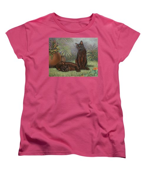 Women's T-Shirt (Standard Cut) featuring the painting Burmese Beauty by Cynthia House