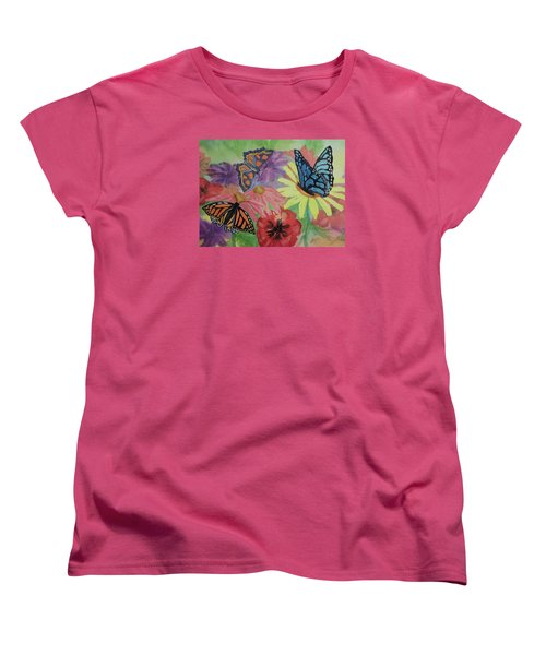 Women's T-Shirt (Standard Cut) featuring the painting Butterfly Garden by Ellen Levinson