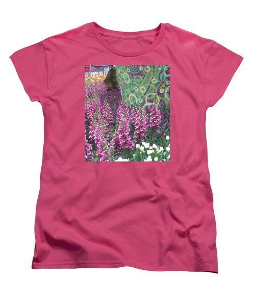 Women's T-Shirt (Standard Cut) featuring the photograph Butterfly Garden Purple White Flowers Painted Wall by Navin Joshi