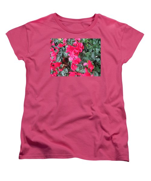 Women's T-Shirt (Standard Cut) featuring the photograph Butterfly Garden Red Exotic Flowers Las Vegas by Navin Joshi