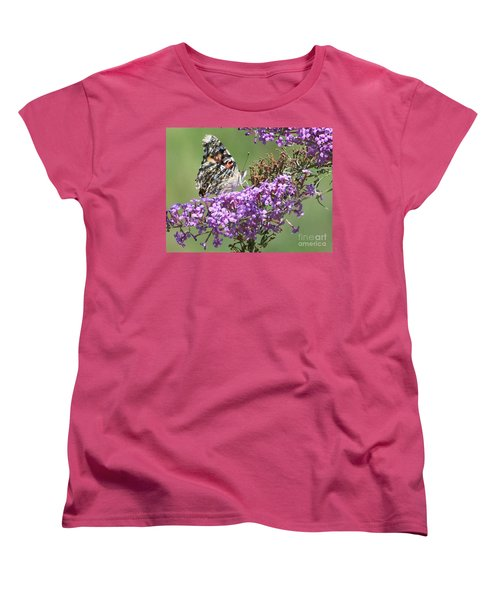 Women's T-Shirt (Standard Cut) featuring the photograph Painted Lady Butterfly by Eunice Miller