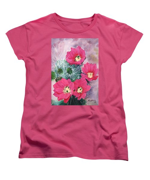 Cactus Flowers I Women's T-Shirt (Standard Cut) by Mike Robles