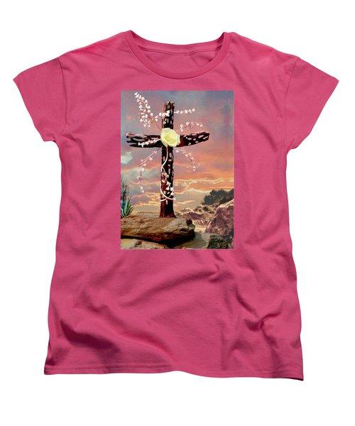 Calvary Cross Women's T-Shirt (Standard Cut) by Ron Chambers