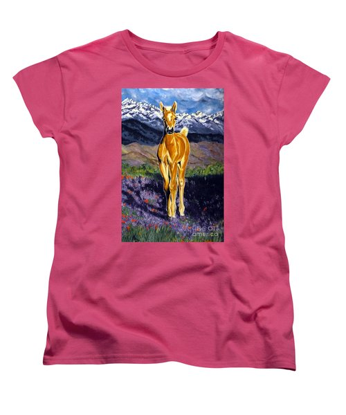 Candy Rocky Mountain Palomino Colt Women's T-Shirt (Standard Cut) by Jackie Carpenter