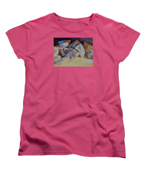 Women's T-Shirt (Standard Cut) featuring the painting Can't Put It Down by Pattie Wall