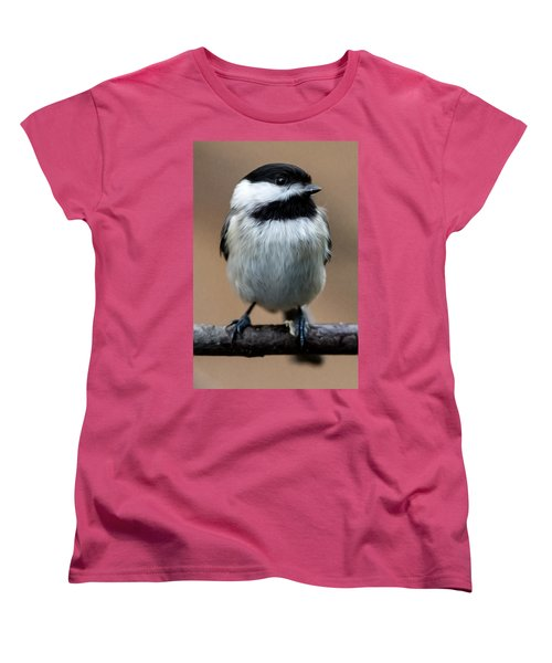 Women's T-Shirt (Standard Cut) featuring the painting Carolina Chickadee by John Haldane