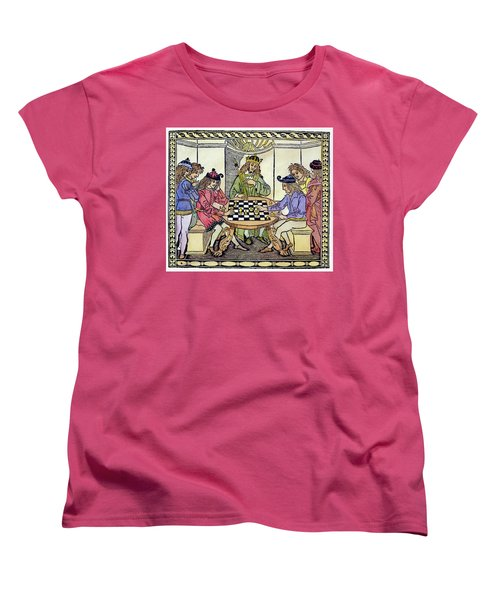 Women's T-Shirt (Standard Cut) featuring the painting Cessolis Chess, 1493-94 by Granger
