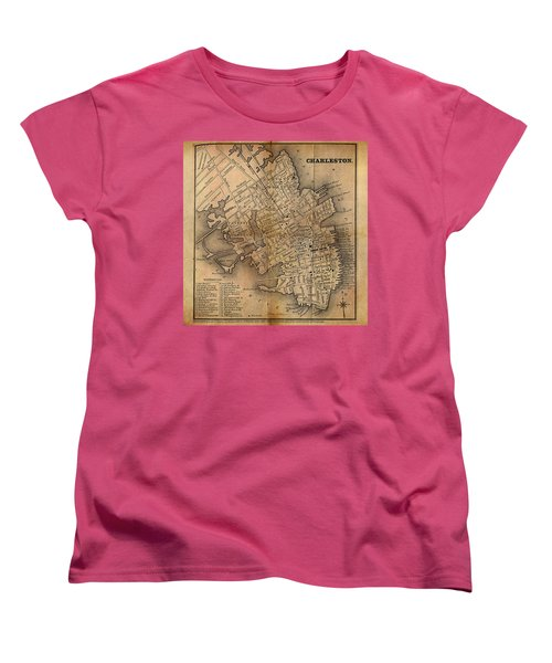 Women's T-Shirt (Standard Cut) featuring the painting Charleston Vintage Map No. I by James Christopher Hill