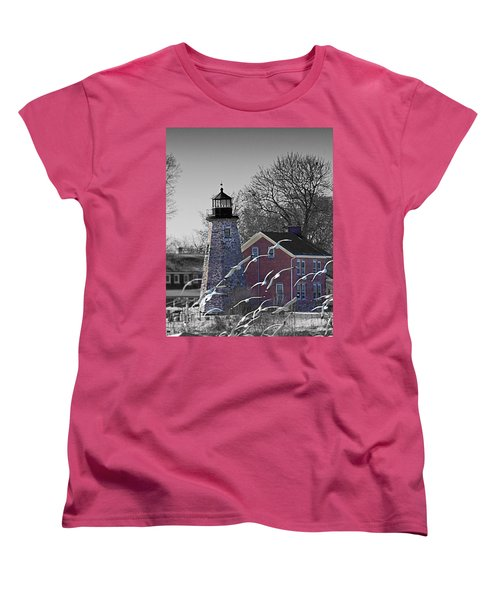 The Charlotte Genesee Lighthouse Women's T-Shirt (Standard Cut) by Richard Engelbrecht