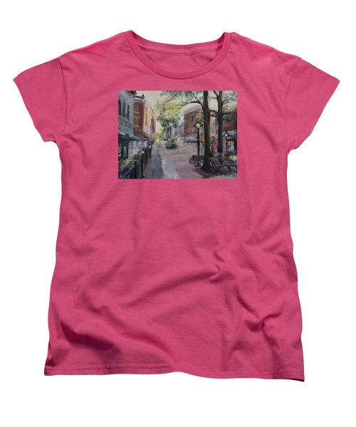 Charlottesville's Historic Downtown Mall Women's T-Shirt (Standard Cut) by Donna Tuten