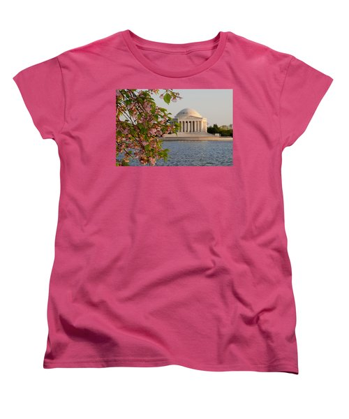Women's T-Shirt (Standard Cut) featuring the photograph Cherry Blossoms And The Jefferson Memorial 3 by Mitchell R Grosky
