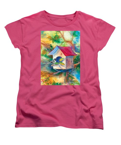 Chickadee Bungalow Women's T-Shirt (Standard Cut) by Teresa Ascone