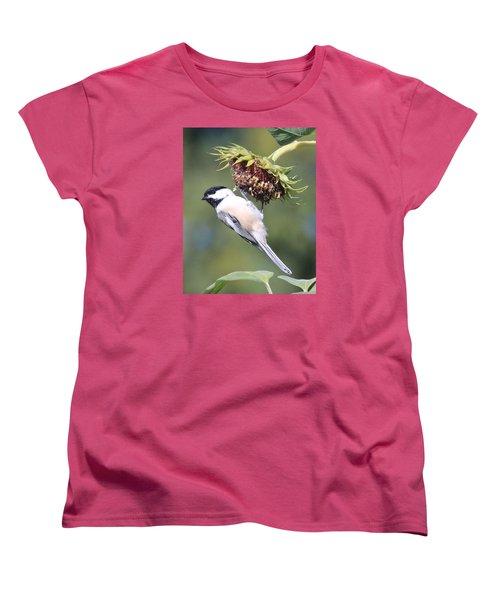 Chickadee On Sunflower Women's T-Shirt (Standard Cut) by Lucinda VanVleck