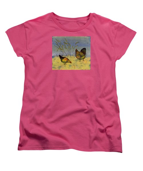 Chickens On Silk Women's T-Shirt (Standard Cut) by Carolyn Doe