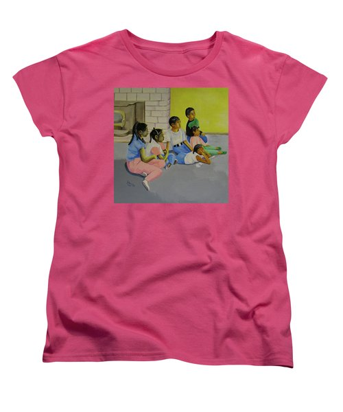 Women's T-Shirt (Standard Cut) featuring the painting Children's Attention Span  by Thomas J Herring