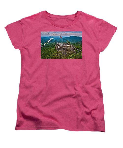 Women's T-Shirt (Standard Cut) featuring the photograph Chimney Rock At Lake Lure by Alex Grichenko