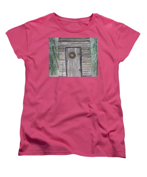 Christmas Card No.3 Rustic Cabin Women's T-Shirt (Standard Cut)