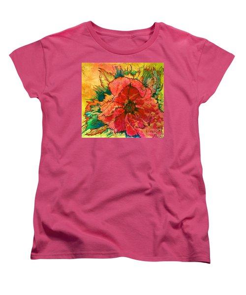 Christmas Flower Women's T-Shirt (Standard Cut) by Nancy Cupp