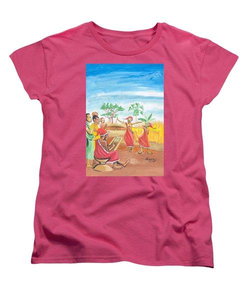 Women's T-Shirt (Standard Cut) featuring the painting Christmas In Rwanda by Emmanuel Baliyanga