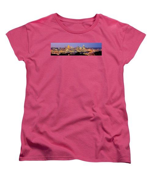 Cincinnati Skyline At Dusk Sunset Color Panorama Ohio Women's T-Shirt (Standard Cut) by Jon Holiday