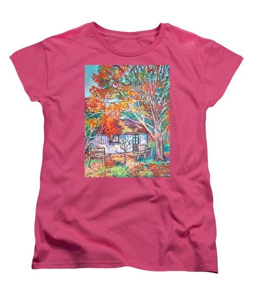 Claytor Lake Cabin In Fall Women's T-Shirt (Standard Cut) by Kendall Kessler