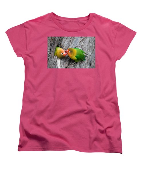 Close-up Of A Pair Of Lovebirds, Ndutu Women's T-Shirt (Standard Cut) by Panoramic Images
