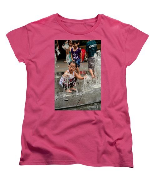 Clothed Children Play At Water Fountain Women's T-Shirt (Standard Cut) by Imran Ahmed