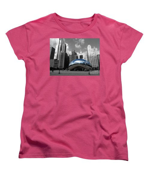 Cloud Gate B-w Chicago Women's T-Shirt (Standard Cut) by David Bearden