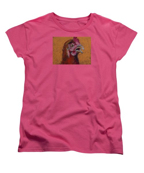 Women's T-Shirt (Standard Cut) featuring the painting Cluck by Pattie Wall