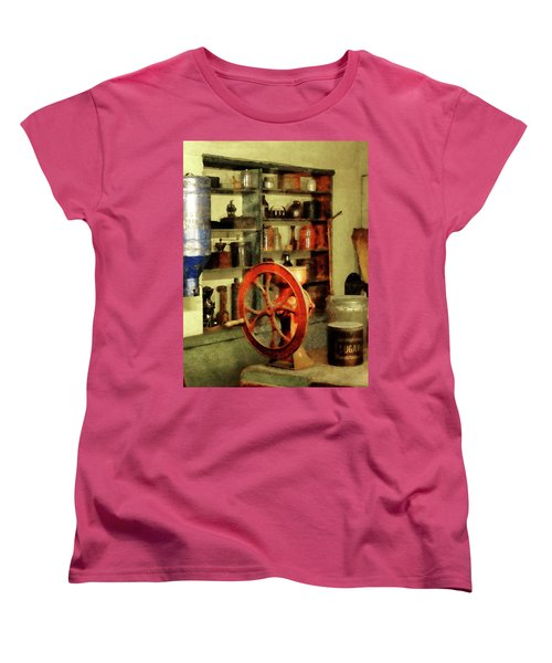 Women's T-Shirt (Standard Cut) featuring the photograph Coffee Grinder And Canister Of Sugar by Susan Savad