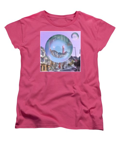 Coit Tower In A Bubble And Purple Sky Women's T-Shirt (Standard Cut) by Anna Porter