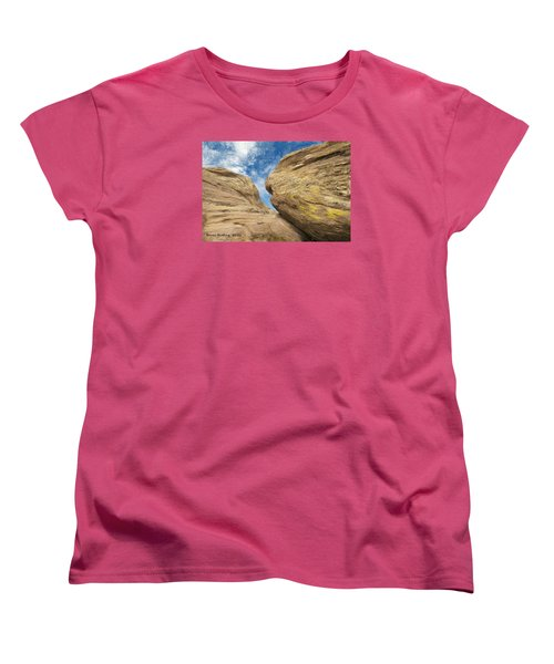 Women's T-Shirt (Standard Cut) featuring the painting Colby's Cliff by Bruce Nutting