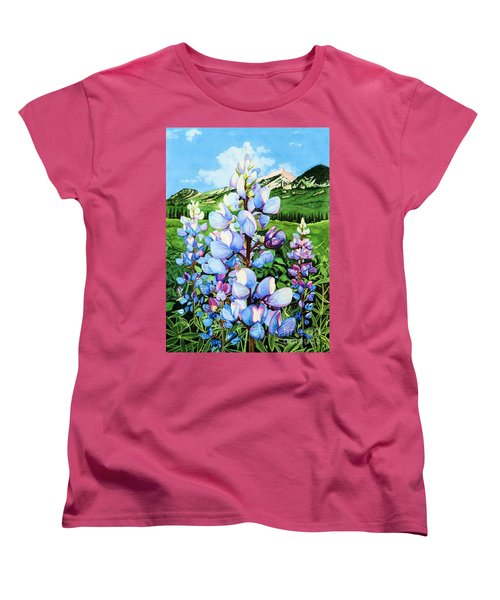 Women's T-Shirt (Standard Cut) featuring the painting Colorado Summer Blues by Barbara Jewell
