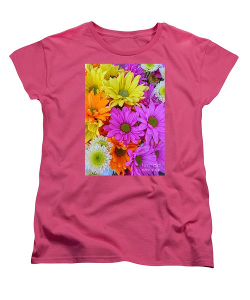 Women's T-Shirt (Standard Cut) featuring the photograph Colorful Daisies by Sami Martin