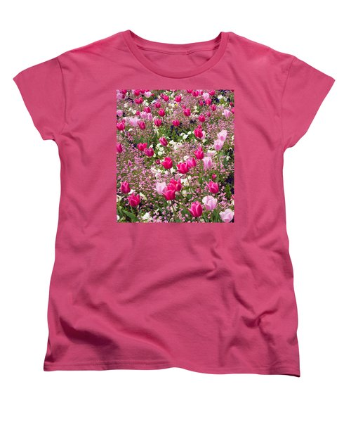 Colorful Pink Tulips And Other Flowers In Spring Women's T-Shirt (Standard Cut)