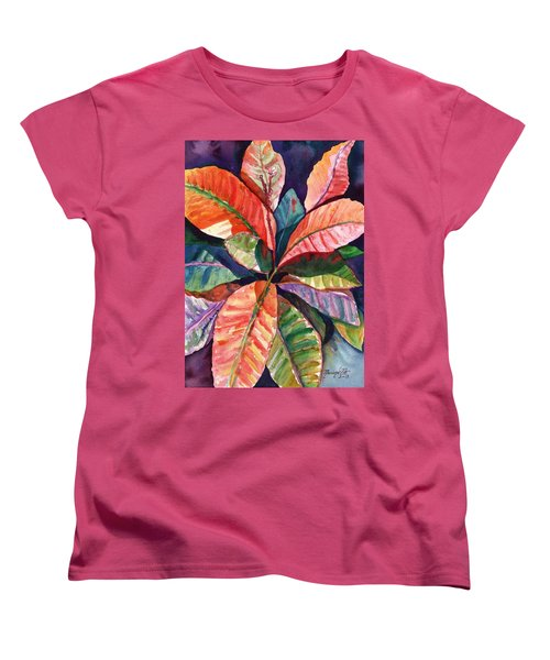 Colorful Tropical Leaves 1 Women's T-Shirt (Standard Cut) by Marionette Taboniar