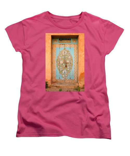 Colourful Moroccan Entrance Door Sale Rabat Morocco Women's T-Shirt (Standard Cut) by Ralph A  Ledergerber-Photography