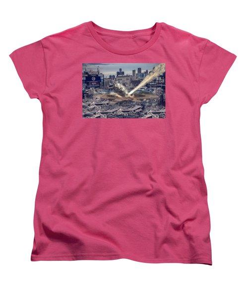 Women's T-Shirt (Standard Cut) featuring the photograph Comerica Park Asteroid by Nicholas  Grunas