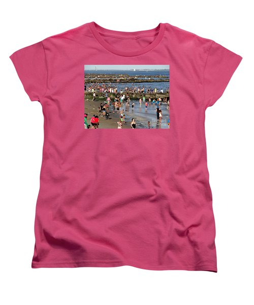 Women's T-Shirt (Standard Cut) featuring the photograph Coney Island Rocks by Ed Weidman