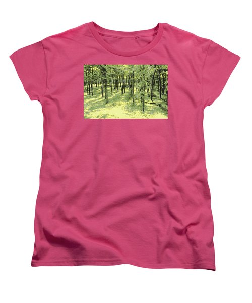 Women's T-Shirt (Standard Cut) featuring the photograph Copse Of Trees Sunlight by Tom Wurl