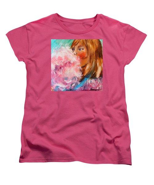 Women's T-Shirt (Standard Cut) featuring the painting Cotton Candy by Karen  Ferrand Carroll