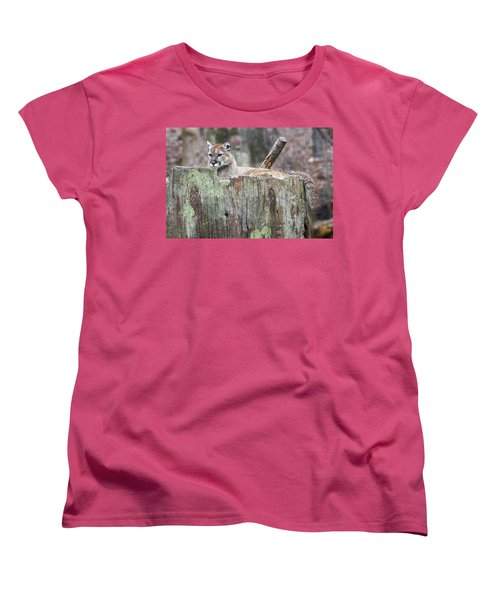 Cougar On A Stump Women's T-Shirt (Standard Cut)