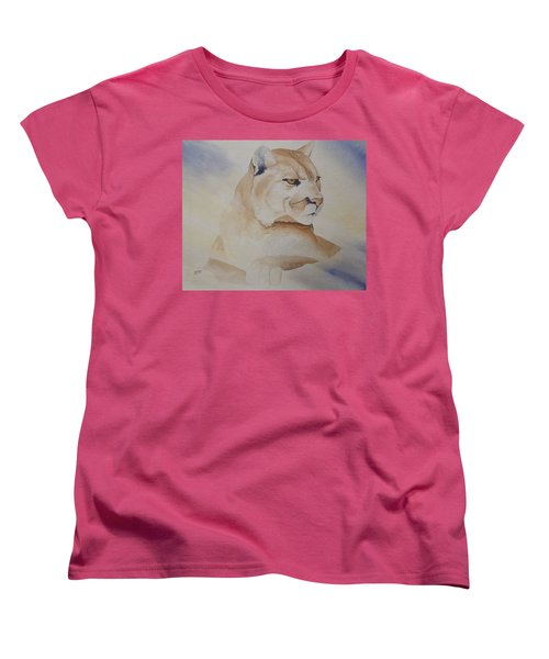 Cougar On Watch Women's T-Shirt (Standard Cut) by Richard Faulkner