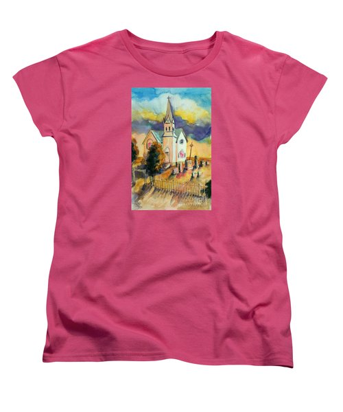 Women's T-Shirt (Standard Cut) featuring the painting Country Church At Sunset by Kathy Braud