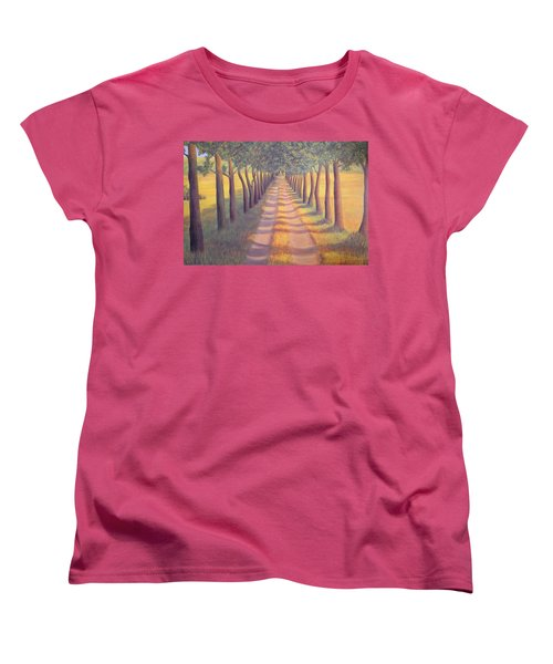 Women's T-Shirt (Standard Cut) featuring the painting Country Lane by Sophia Schmierer