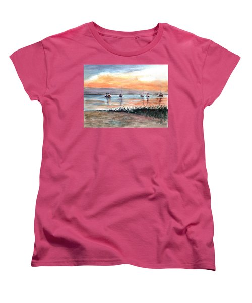 Cove Sunrise Women's T-Shirt (Standard Cut) by Clara Sue Beym