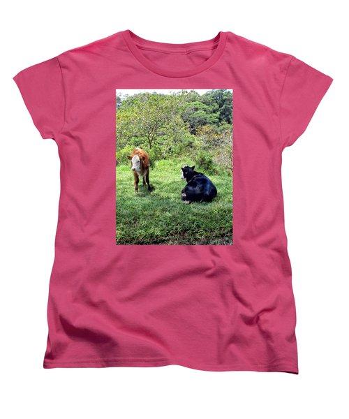 Women's T-Shirt (Standard Cut) featuring the photograph Cow 4 by Dawn Eshelman