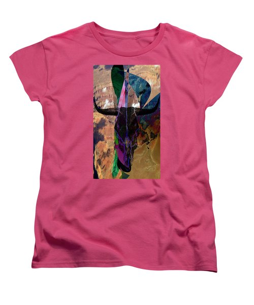 Women's T-Shirt (Standard Cut) featuring the digital art Cowskull Over The Canyon by Cathy Anderson