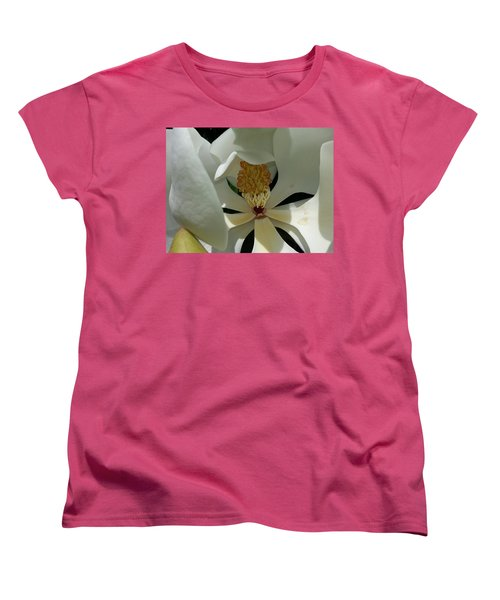 Women's T-Shirt (Standard Cut) featuring the photograph Coy Magnolia by Caryl J Bohn