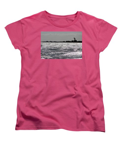 Women's T-Shirt (Standard Cut) featuring the pyrography Creative Surfing by Chris Thomas